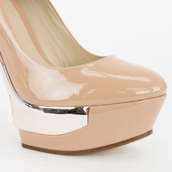 Brian Atwood beige patent leather almond toe pumps with rose goldtone heels and platforms.