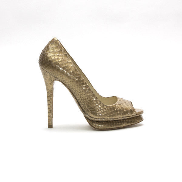 Alexandre Birman Gold Snakeskin High Heel