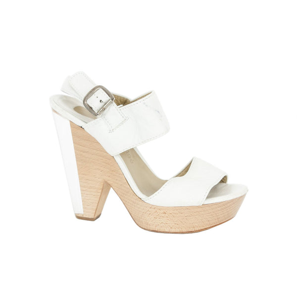 Chloe | White Leather Platform Heels