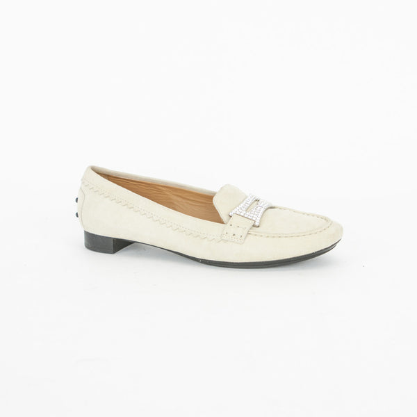 Tods Cream Suede Flats with Rhinestone Buckles