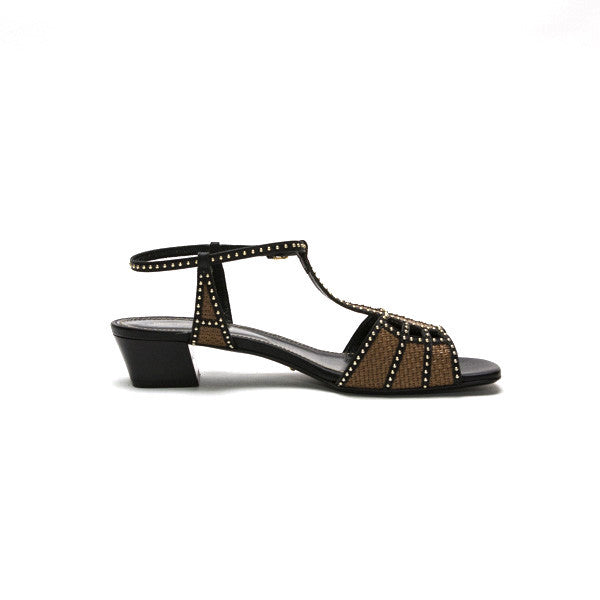 Sergio Rossi | Black And Gold Woven Chunky Heels