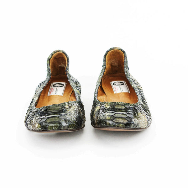 Lanvin Green & Brown Python Ballet Flats With A Round Toe