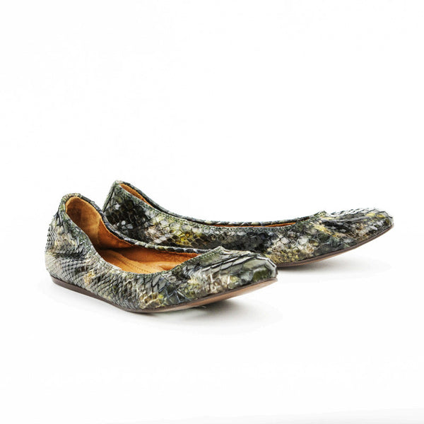 Lanvin Green & Brown Python Ballet Shoes
