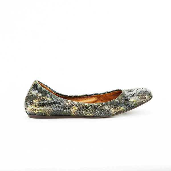 Lanvin Green & Brown Python Ballet Shoes With A Scrunch Style