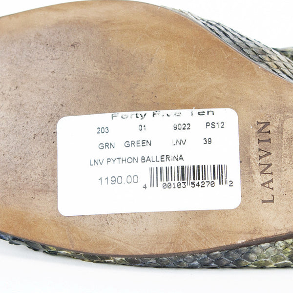 Lanvin Green & Brown Python Ballet Shoes With Original Price Tag