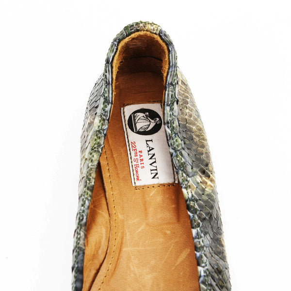 Lanvin Green & Brown Python Ballet Shoes With Leather Insoles