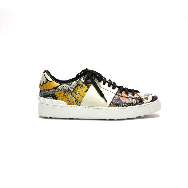 Valentino Leather Print Tennis Shoes
