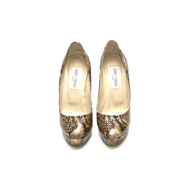 Jimmy Choo Beige Brown Ivory Snakeskin