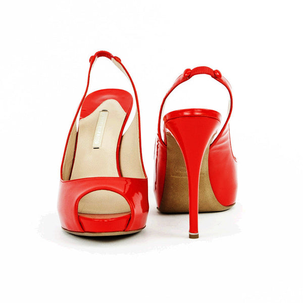 Nicholas Kirkwood red patent leather high heels with covered heel