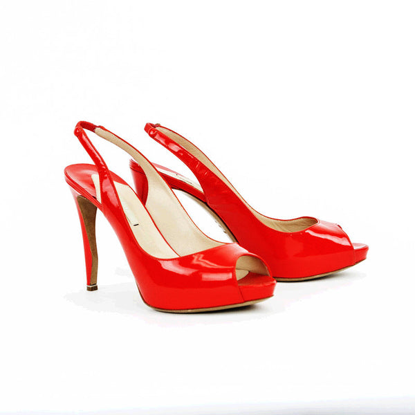 Nicholas Kirkwood red patent leather high heels made in Italy