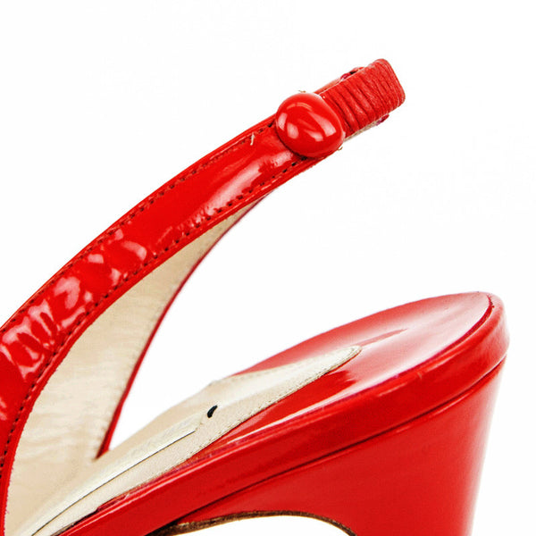 Nicholas Kirkwood red patent leather high heels with an elastic panel on the back