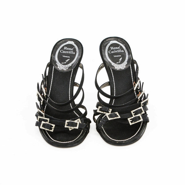 Rene Caovilla black satin high heel strappy sandals