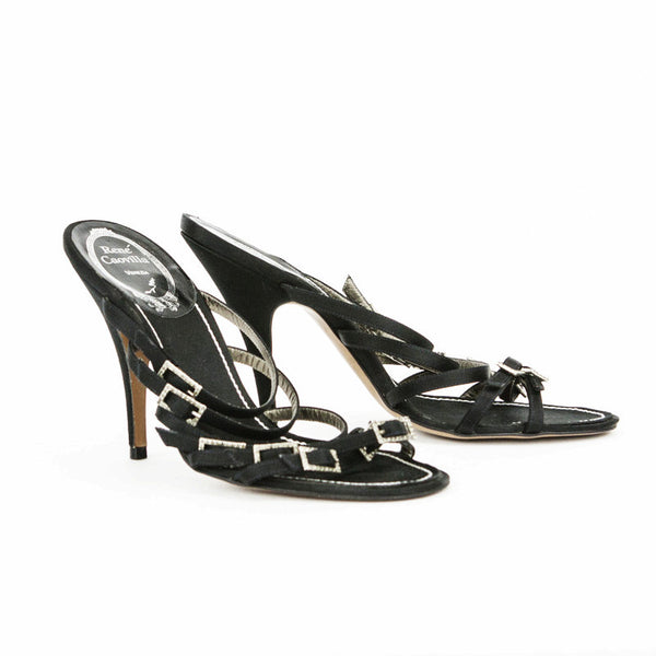 Rene Caovilla black satin high heel sandals made in Italy