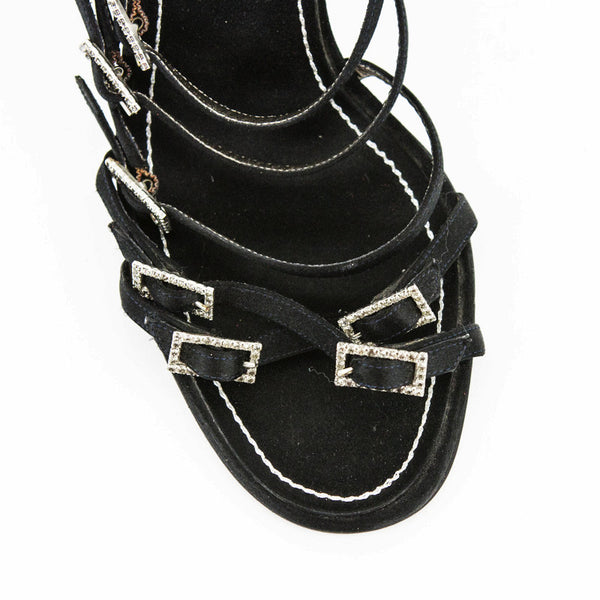 Rene Caovilla black satin high heel sandals with crystal buckles
