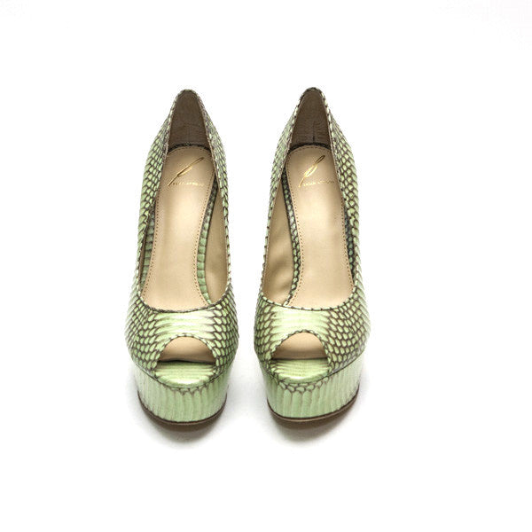 Brian Atwood Mint Green And Taupe Almond Peep Toe