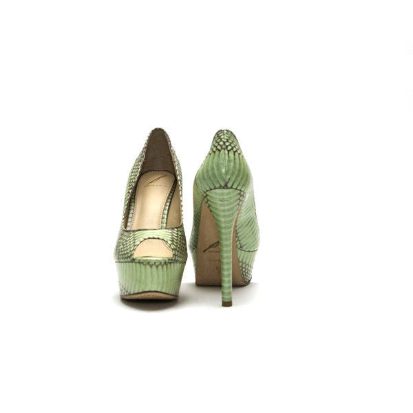 Brian Atwood Mint Green And Taupe Snakeskin Print