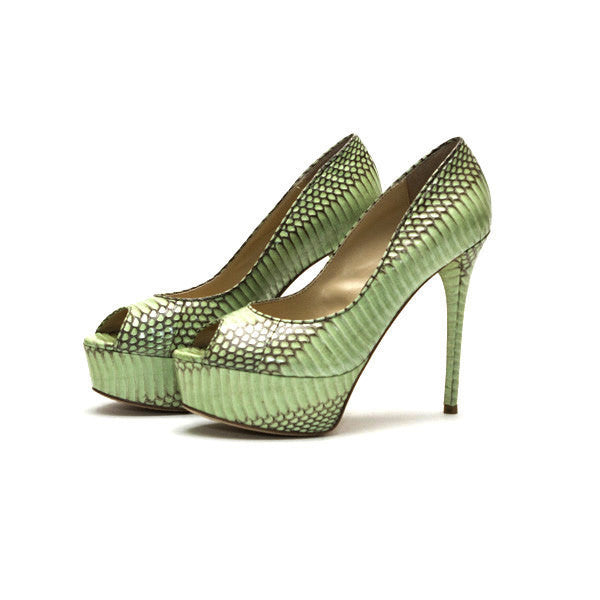 Brian Atwood Mint Green And Taupe Platform Heel