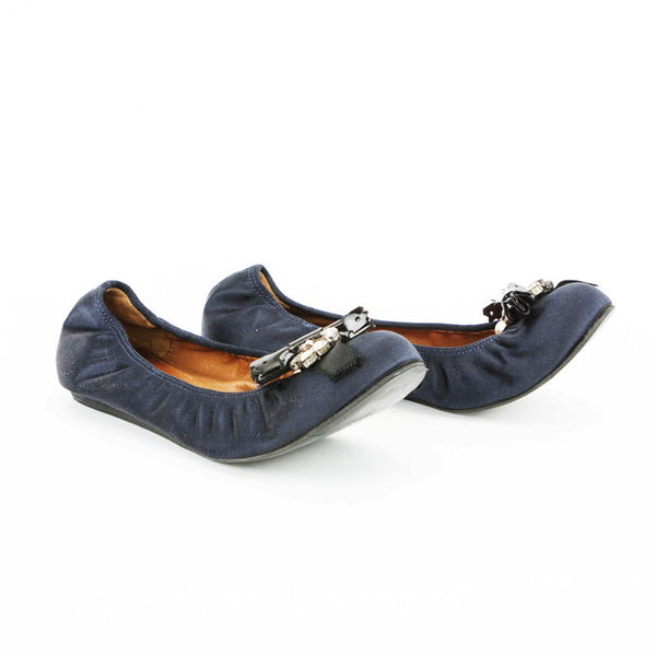 Lanvin Navy Blue Satin Ballet Flats With Round Toes