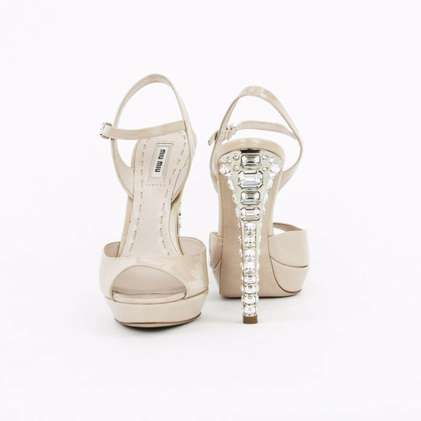 Miu Miu nude patent leather high heels with crystals made in Italy