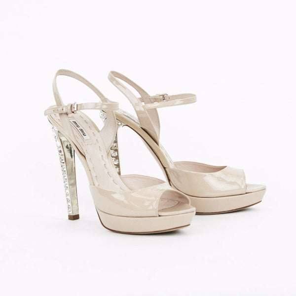 Miu Miu nude patent leather high heels with crystals with peep toe