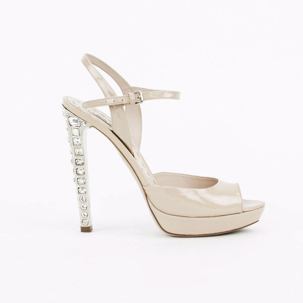 Miu Miu nude patent leather high heels with crystals with ankle straps