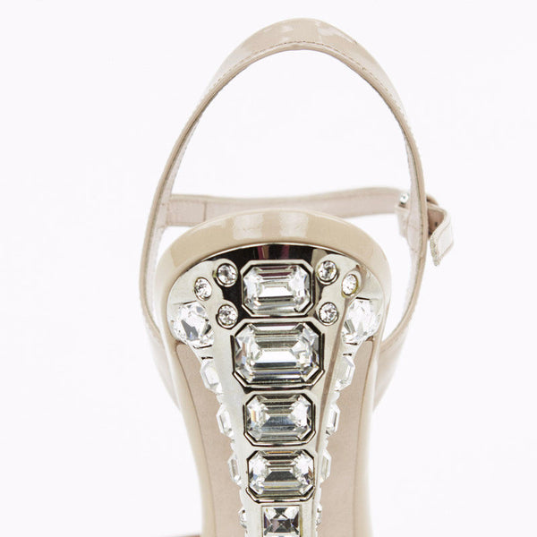 Miu Miu nude patent leather high heels with crystal heels