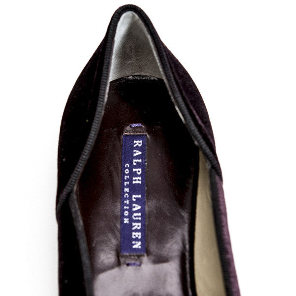 Ralph Lauren Velvet Plum Slide On Shoe With Designer Label