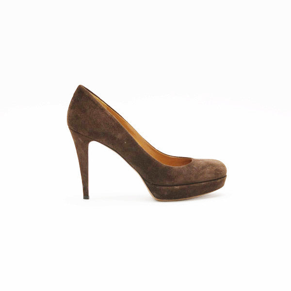 Gucci Brown Suede Platform Pumps