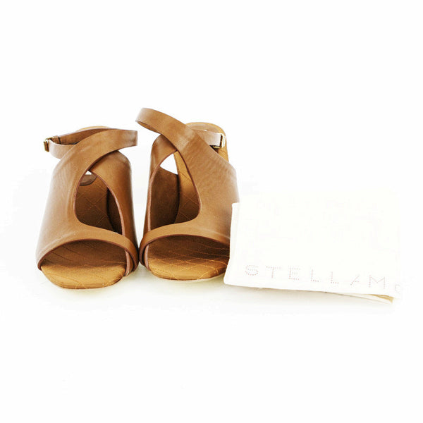 Stella Mccartney light brown leather mid heels with dust bag