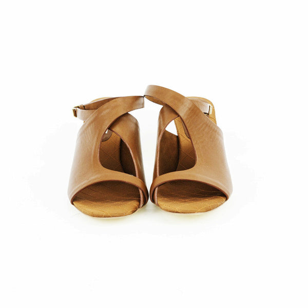 Stella Mccartney light brown leather mid heels with keyhole in the middle