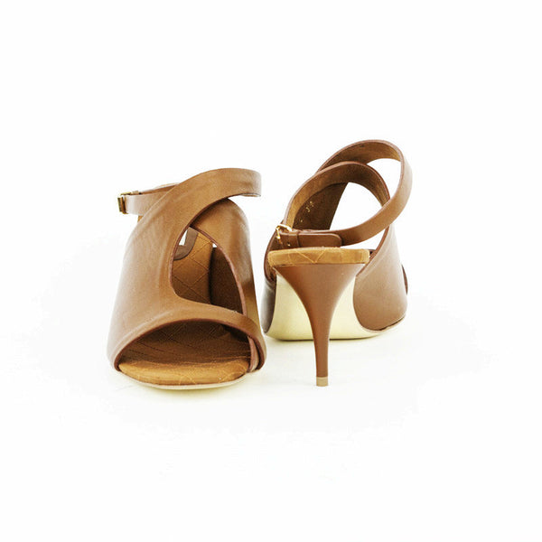 Stella Mccartney light brown leather mid heels size 9