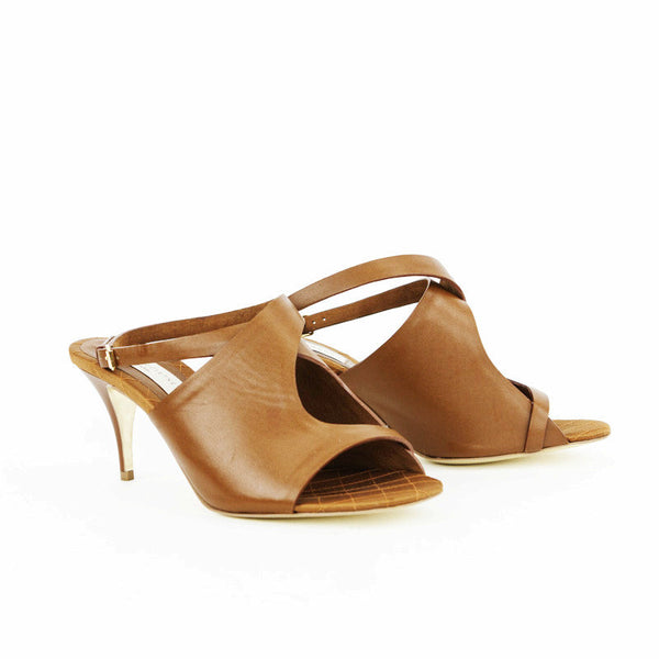 Stella Mccartney light brown leather mid heels made in Italy