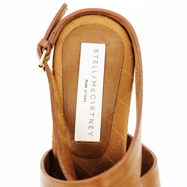 Stella Mccartney light brown leather mid heels with designer tag on insoles