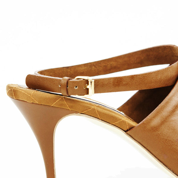Stella Mccartney light brown leather mid heels with gold buckles