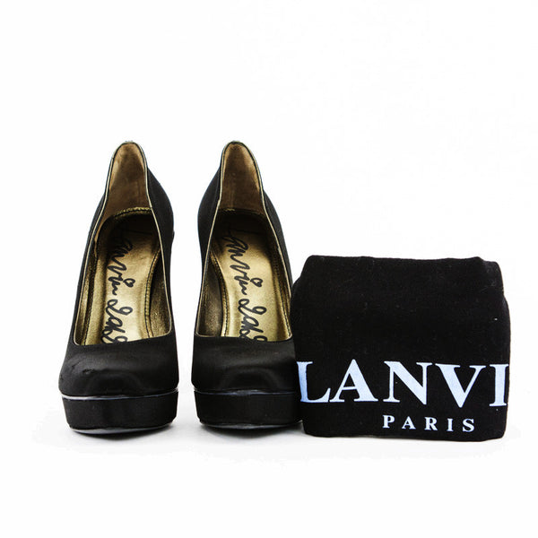 Lanvin black satin stilettos with crystal soles with dustbag