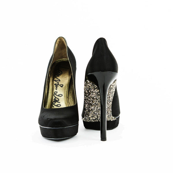 Lanvin black satin acrylic stilettos with crystal soles
