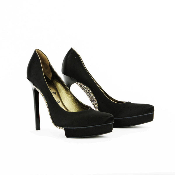 Lanvin black satin stilettos with crystal soles with platform