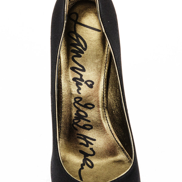 Lanvin black satin stilettos with crystal soles with designer name on insoles