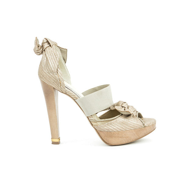 Stella McCartney beige leather canvas high heels