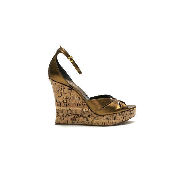 Christian Dior Bronze Cork Wedges