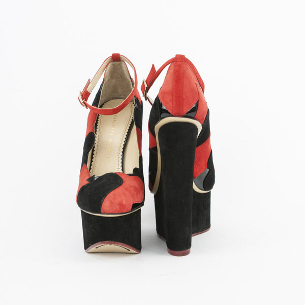 Charlotte Olympia Black & Red Suede Lady Luck Suited Playing Card Wedges
