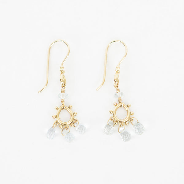 Temple St. Clair 18K gold chandelier earrings tear shaped drops