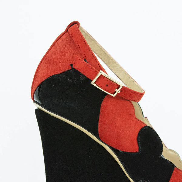 Olympia Black & Red Suede Lady Luck Suited Playing Card Wedges With Ankle Straps