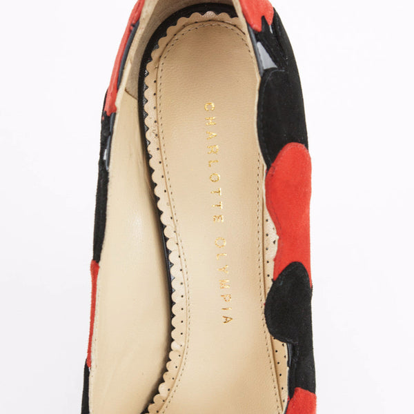 Olympia Black & Red Suede Lady Luck Suited Playing Card Wedges