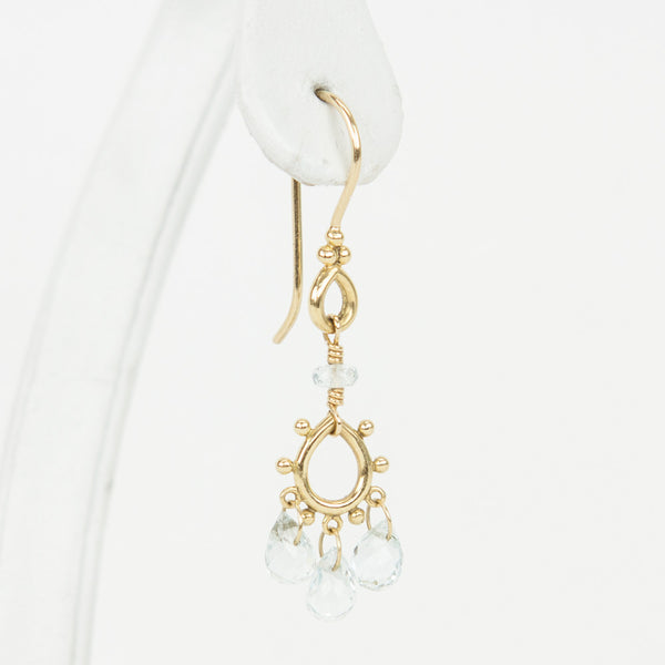 Temple St. Clair 18K gold chandelier earrings with round dotted frame