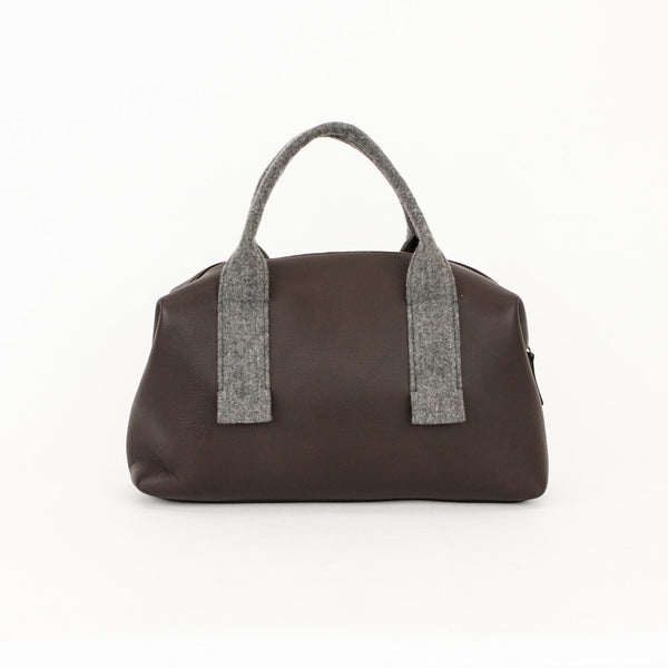 Brunello Cucinelli brown leather handbag with gray flannel dual handles, top zip closure, and removable flannel pouch pocket.