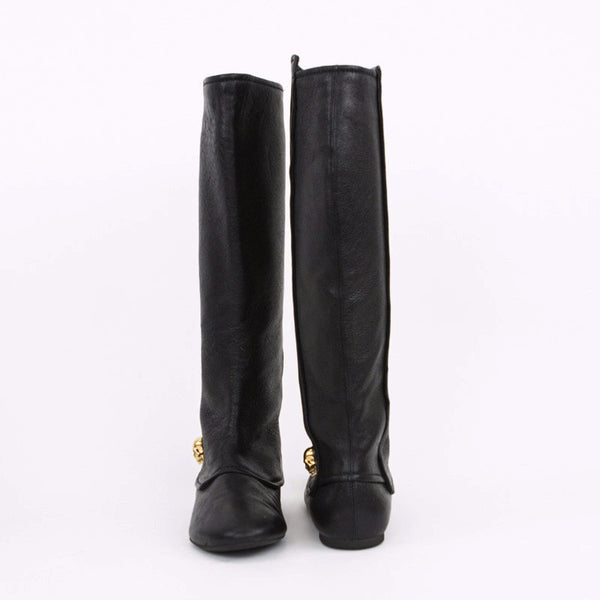 Alexander McQueen black leather boots with skull made in Italy