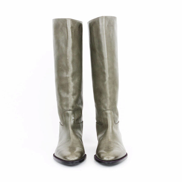 Robert Clergerie taupe gray leather boots made in France