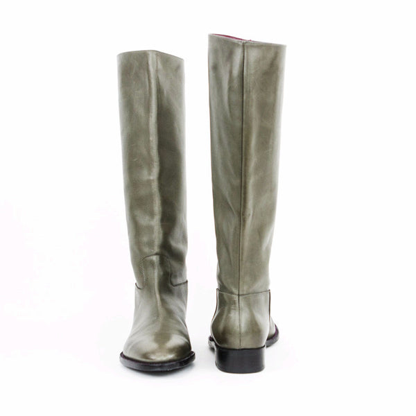 Robert Clergerie taupe gray leather knee high boots