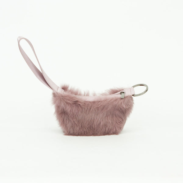 Gucci mauve rabbit fur wristlet